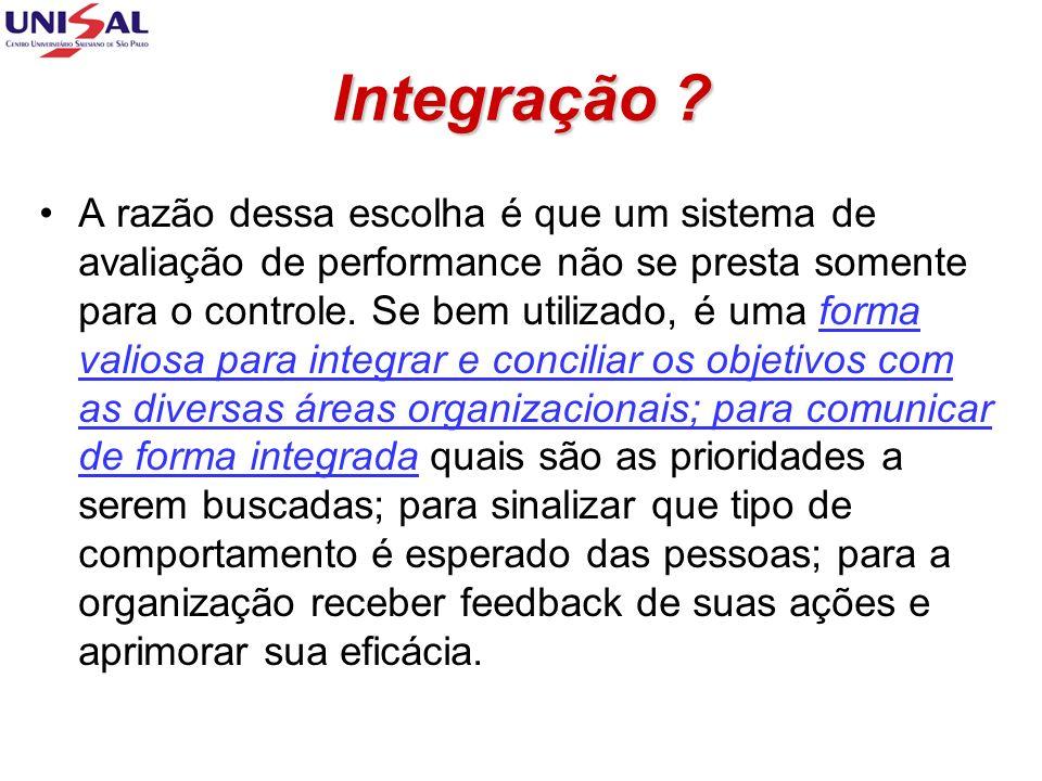 Integração ? A razão dessa escolha é que um sistema de avaliação de performance não se presta somente para o controle. Se bem utilizado, é uma forma v