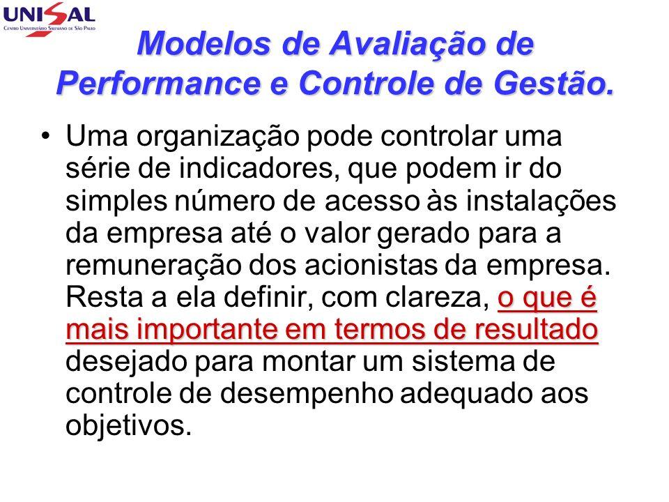 Modelos de Avaliação de Performance e Controle de Gestão. o que é mais importante em termos de resultadoUma organização pode controlar uma série de in