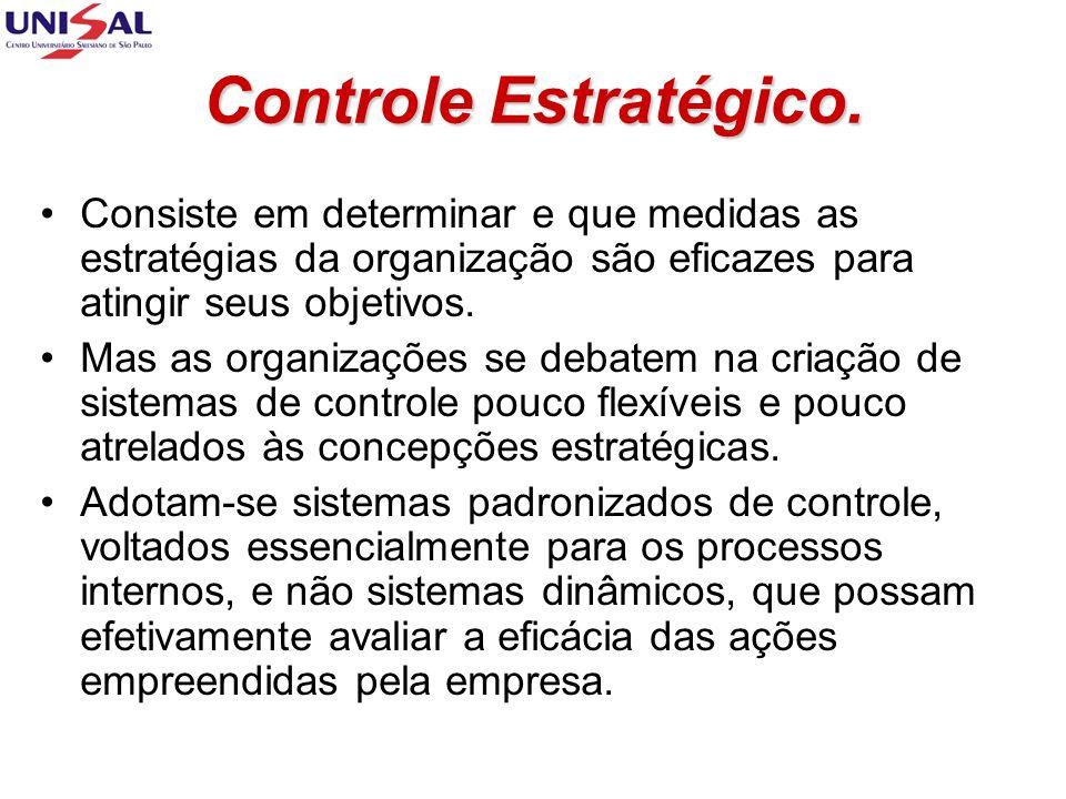 Controle Estratégico. Consiste em determinar e que medidas as estratégias da organização são eficazes para atingir seus objetivos. Mas as organizações