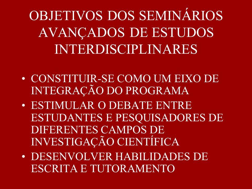 EIXO INTEGRADOR DO PROGRAMA ESPAÇO PARA A APRESENTAÇÃO DOS TRABALHOS DE PESQUISA DE ALUNOS E PROFESSORES DO PROGRAMA.