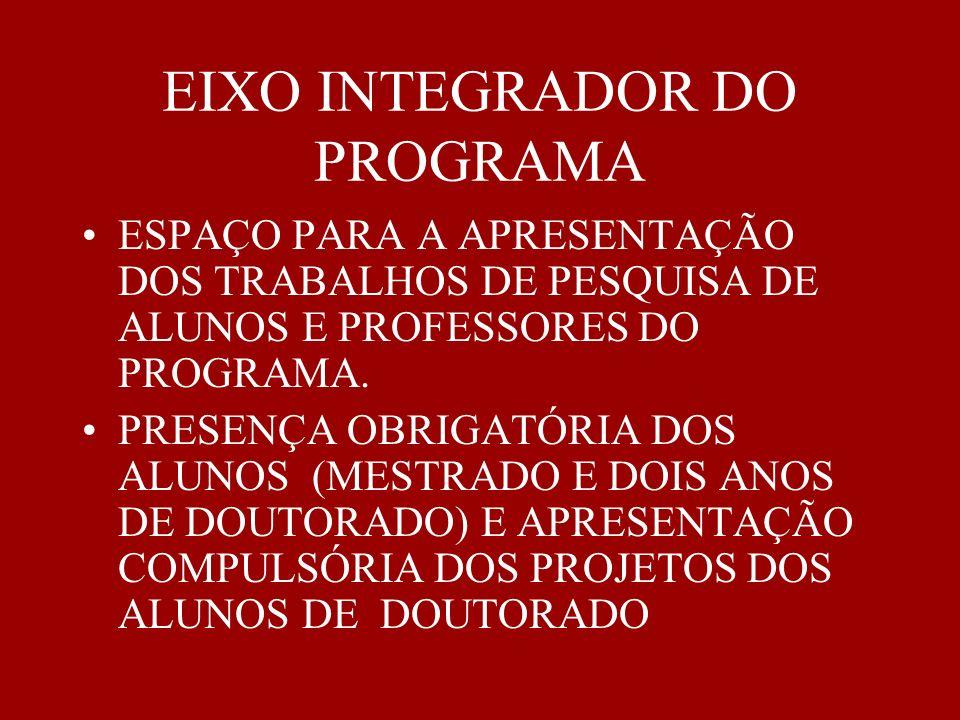 EIXO INTEGRADOR DO PROGRAMA ESPAÇO PARA A APRESENTAÇÃO DOS TRABALHOS DE PESQUISA DE ALUNOS E PROFESSORES DO PROGRAMA. PRESENÇA OBRIGATÓRIA DOS ALUNOS