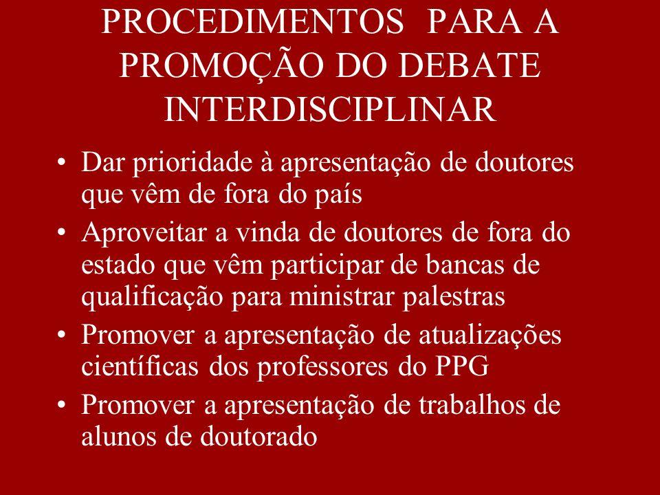 PROCEDIMENTOS PARA A PROMOÇÃO DO DEBATE INTERDISCIPLINAR Dar prioridade à apresentação de doutores que vêm de fora do país Aproveitar a vinda de douto