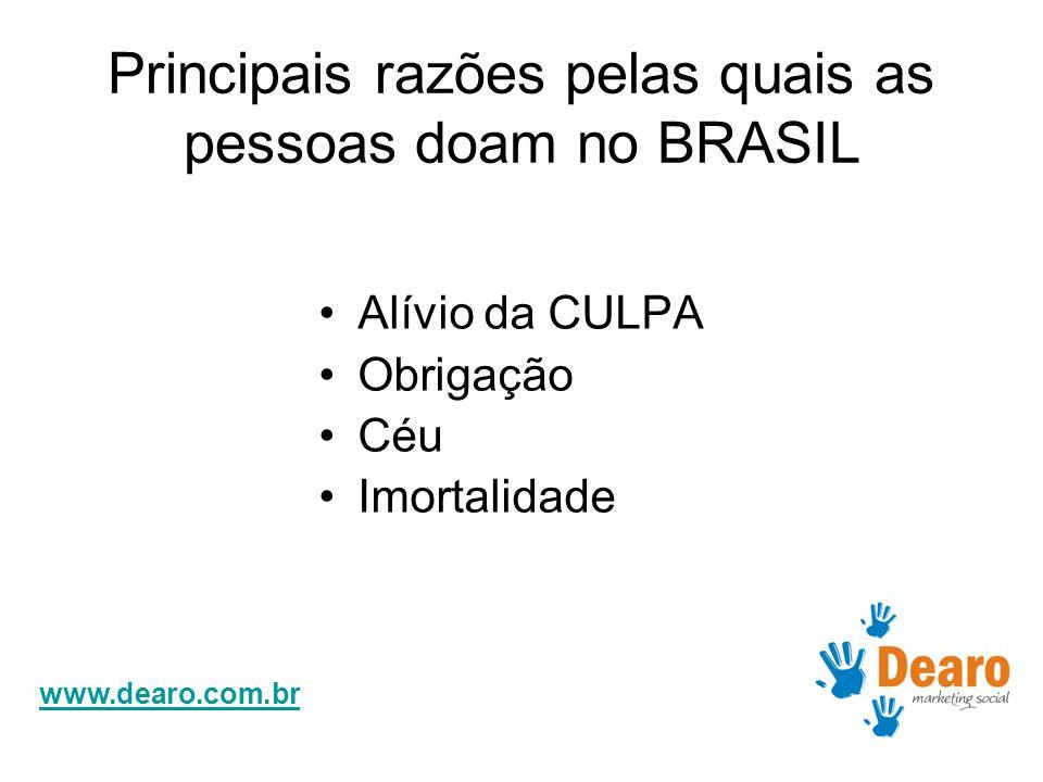 www.dearo.com.br Principais razões pelas quais as pessoas doam no BRASIL Alívio da CULPA Obrigação Céu Imortalidade