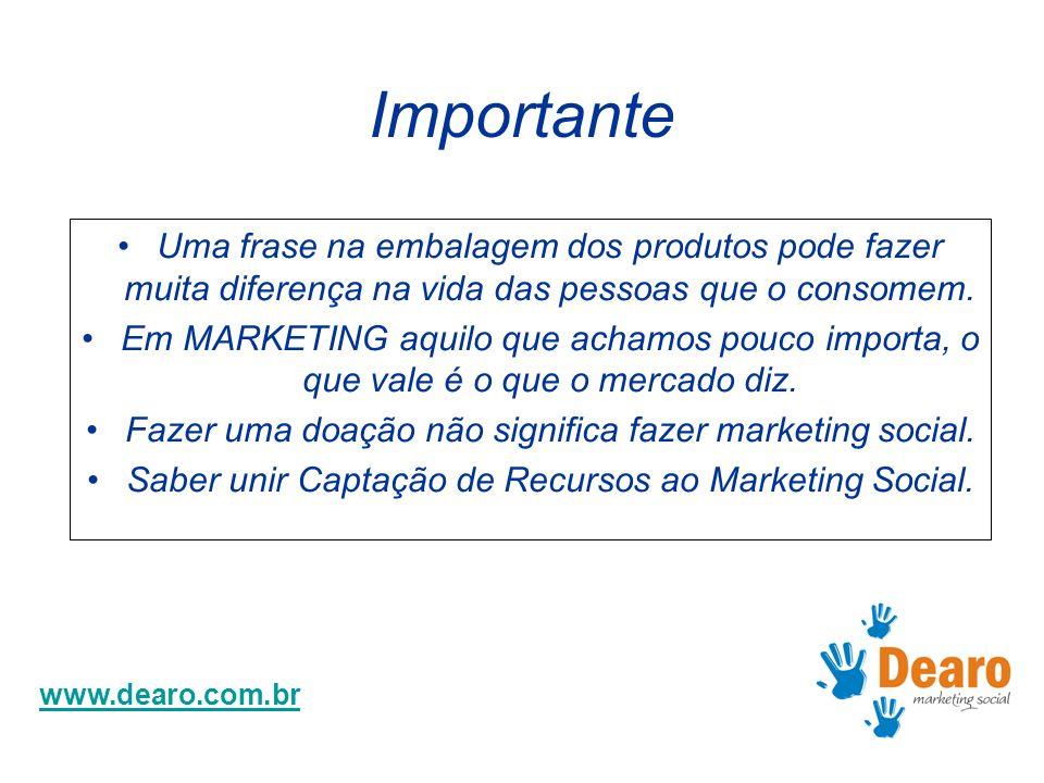 www.dearo.com.br Importante Uma frase na embalagem dos produtos pode fazer muita diferença na vida das pessoas que o consomem. Em MARKETING aquilo que