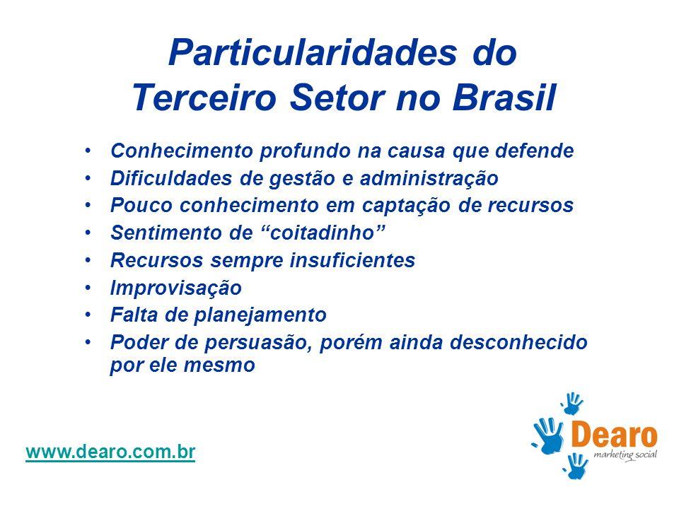 www.dearo.com.br Particularidades do Terceiro Setor no Brasil Conhecimento profundo na causa que defende Dificuldades de gestão e administração Pouco