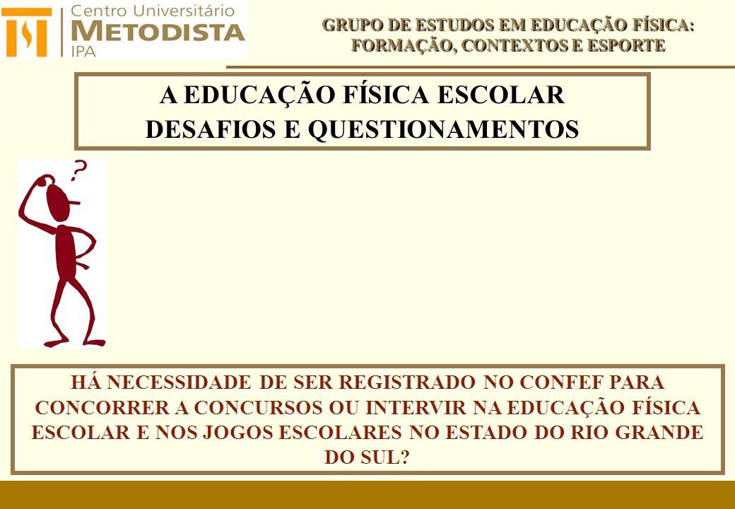 A EDUCAÇÃO FÍSICA ESCOLAR DESAFIOS E QUESTIONAMENTOS A EDUCAÇÃO FÍSICA ESCOLAR DESAFIOS E QUESTIONAMENTOS GRUPO DE ESTUDOS EM EDUCAÇÃO FÍSICA: FORMAÇÃO, CONTEXTOS E ESPORTE HÁ NECESSIDADE DE SER REGISTRADO NO CONFEF PARA CONCORRER A CONCURSOS OU INTERVIR NA EDUCAÇÃO FÍSICA ESCOLAR E NOS JOGOS ESCOLARES NO ESTADO DO RIO GRANDE DO SUL?