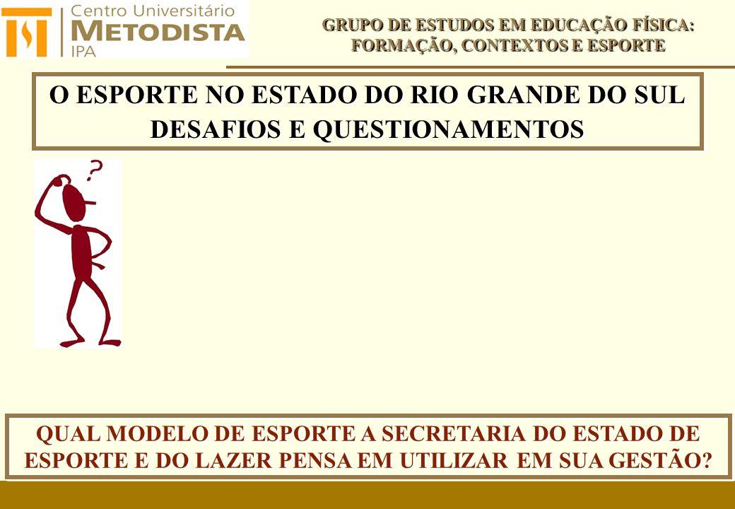 O ESPORTE NO ESTADO DO RIO GRANDE DO SUL DESAFIOS E QUESTIONAMENTOS O ESPORTE NO ESTADO DO RIO GRANDE DO SUL DESAFIOS E QUESTIONAMENTOS GRUPO DE ESTUDOS EM EDUCAÇÃO FÍSICA: FORMAÇÃO, CONTEXTOS E ESPORTE QUAL MODELO DE ESPORTE A SECRETARIA DO ESTADO DE ESPORTE E DO LAZER PENSA EM UTILIZAR EM SUA GESTÃO?