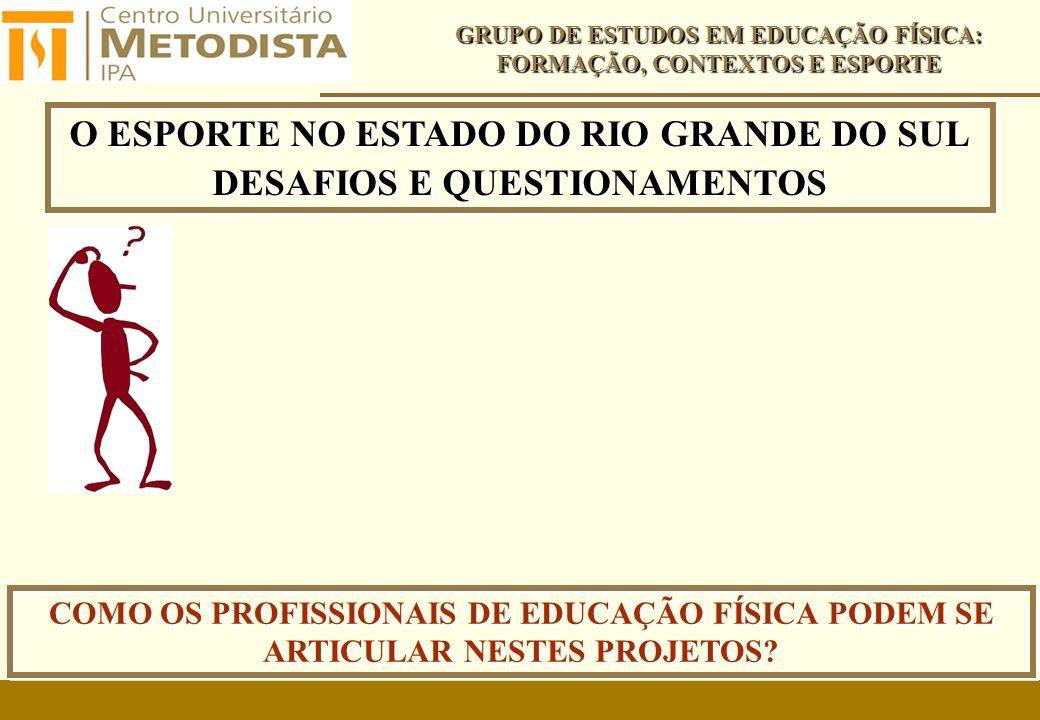 O ESPORTE NO ESTADO DO RIO GRANDE DO SUL DESAFIOS E QUESTIONAMENTOS O ESPORTE NO ESTADO DO RIO GRANDE DO SUL DESAFIOS E QUESTIONAMENTOS GRUPO DE ESTUDOS EM EDUCAÇÃO FÍSICA: FORMAÇÃO, CONTEXTOS E ESPORTE COMO OS PROFISSIONAIS DE EDUCAÇÃO FÍSICA PODEM SE ARTICULAR NESTES PROJETOS?