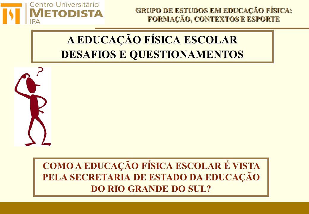 A EDUCAÇÃO FÍSICA ESCOLAR DESAFIOS E QUESTIONAMENTOS A EDUCAÇÃO FÍSICA ESCOLAR DESAFIOS E QUESTIONAMENTOS GRUPO DE ESTUDOS EM EDUCAÇÃO FÍSICA: FORMAÇÃO, CONTEXTOS E ESPORTE COMO A EDUCAÇÃO FÍSICA ESCOLAR É VISTA PELA SECRETARIA DE ESTADO DA EDUCAÇÃO DO RIO GRANDE DO SUL?