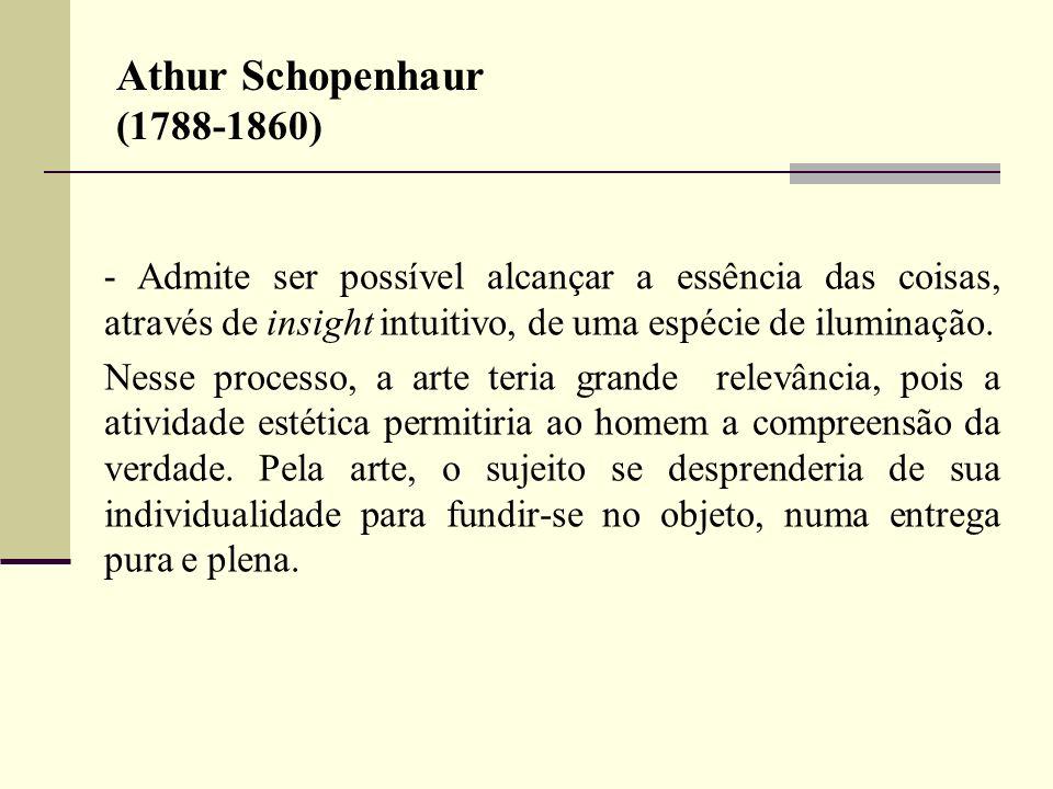 Athur Schopenhaur (1788-1860) - Admite ser possível alcançar a essência das coisas, através de insight intuitivo, de uma espécie de iluminação. Nesse