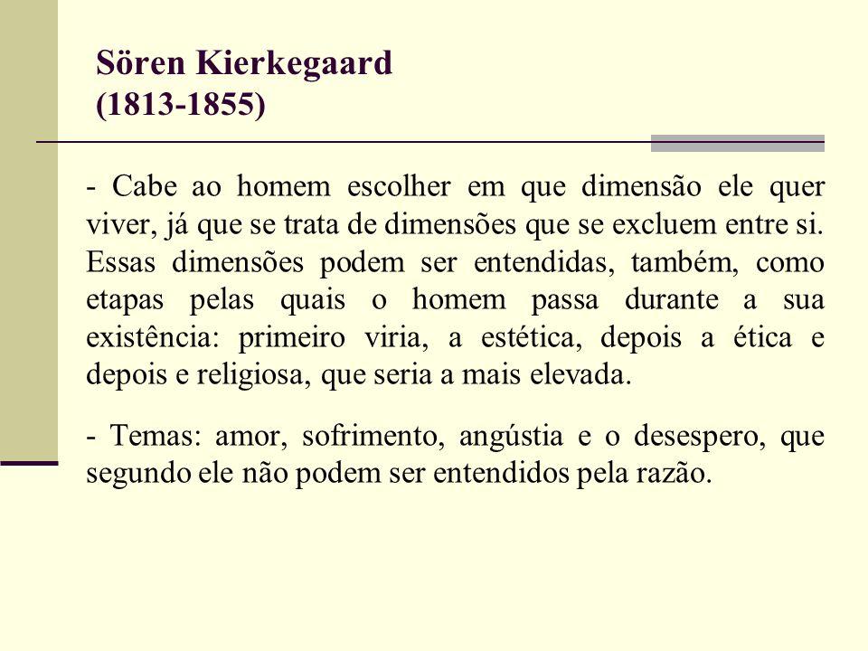 Sören Kierkegaard (1813-1855) - Cabe ao homem escolher em que dimensão ele quer viver, já que se trata de dimensões que se excluem entre si. Essas dim