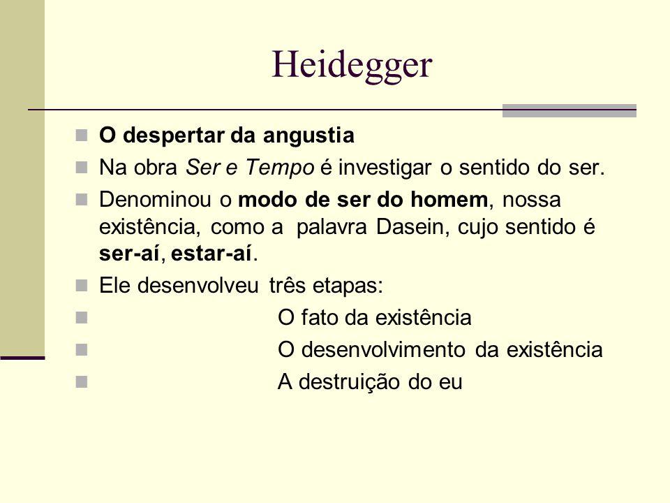 Heidegger O despertar da angustia Na obra Ser e Tempo é investigar o sentido do ser. Denominou o modo de ser do homem, nossa existência, como a palavr