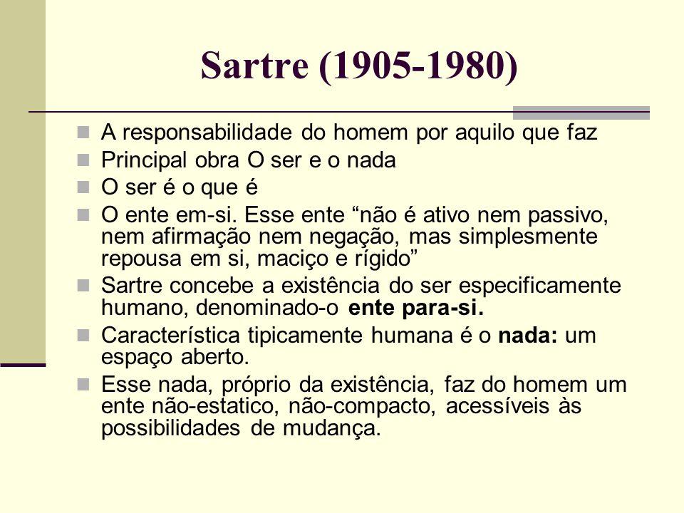 Sartre (1905-1980) A responsabilidade do homem por aquilo que faz Principal obra O ser e o nada O ser é o que é O ente em-si. Esse ente não é ativo ne
