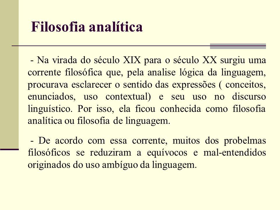 - Na virada do século XIX para o século XX surgiu uma corrente filosófica que, pela analise lógica da linguagem, procurava esclarecer o sentido das ex