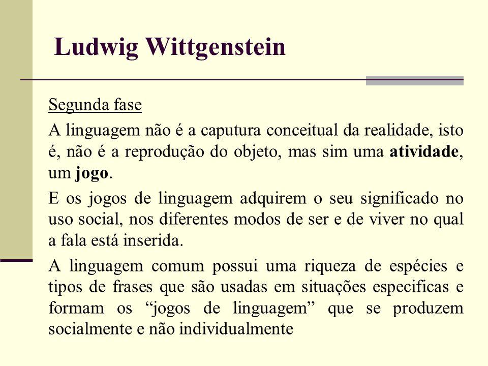 Ludwig Wittgenstein Segunda fase A linguagem não é a caputura conceitual da realidade, isto é, não é a reprodução do objeto, mas sim uma atividade, um