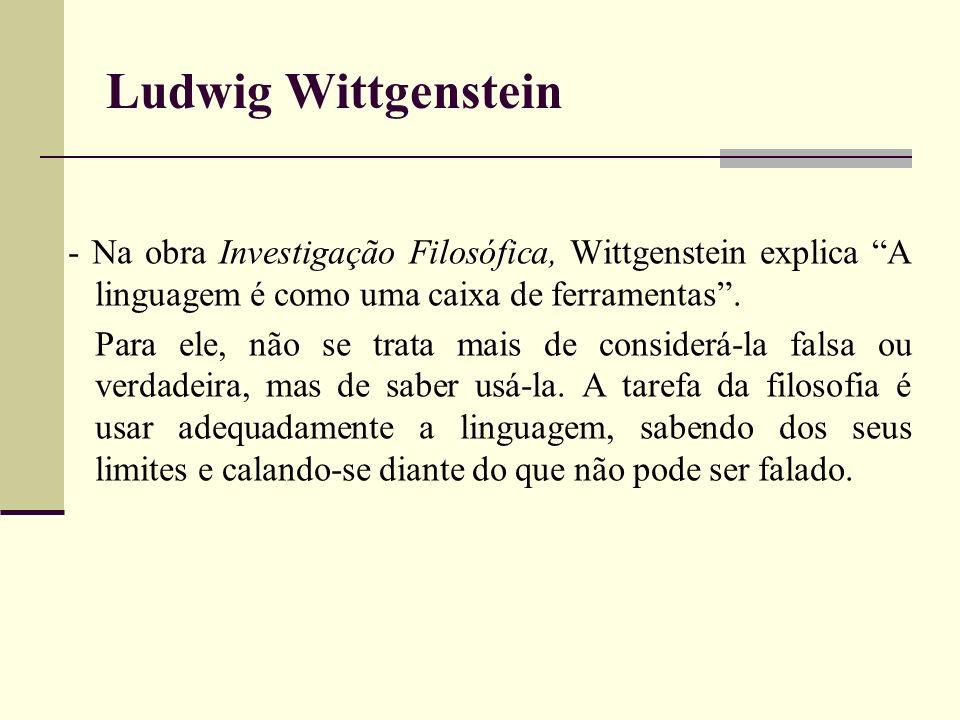 Ludwig Wittgenstein - Na obra Investigação Filosófica, Wittgenstein explica A linguagem é como uma caixa de ferramentas. Para ele, não se trata mais d
