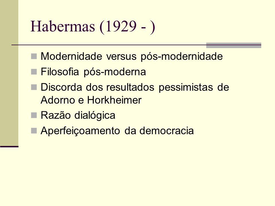 Habermas (1929 - ) Modernidade versus pós-modernidade Filosofia pós-moderna Discorda dos resultados pessimistas de Adorno e Horkheimer Razão dialógica