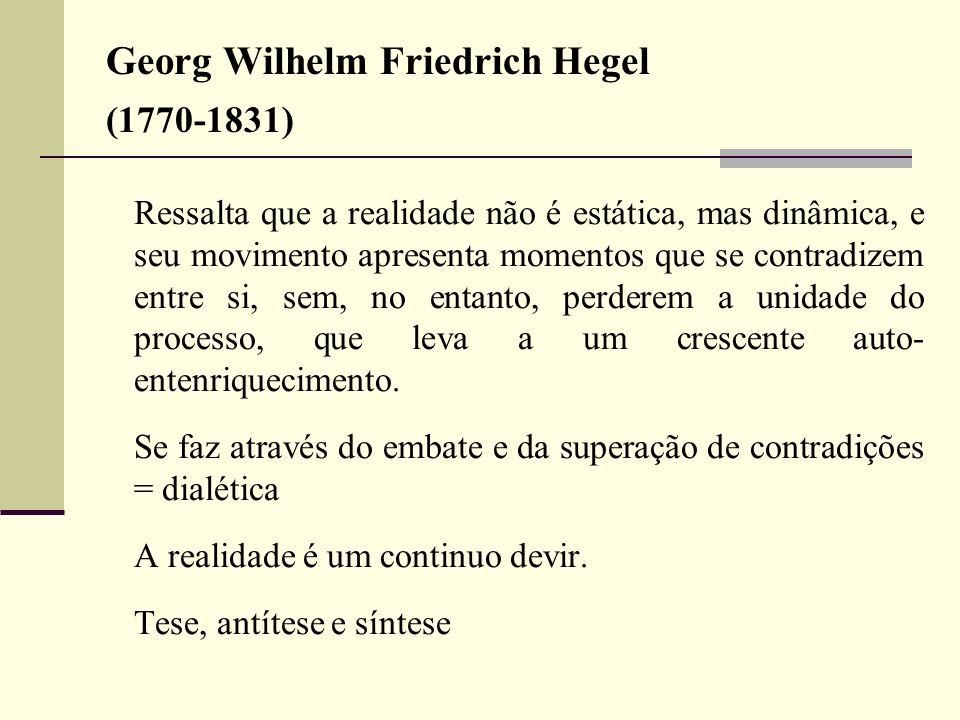 Georg Wilhelm Friedrich Hegel (1770-1831) Ressalta que a realidade não é estática, mas dinâmica, e seu movimento apresenta momentos que se contradizem
