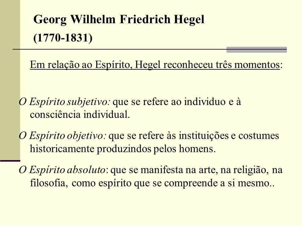 Georg Wilhelm Friedrich Hegel (1770-1831) Em relação ao Espírito, Hegel reconheceu três momentos: O Espírito subjetivo: que se refere ao individuo e à