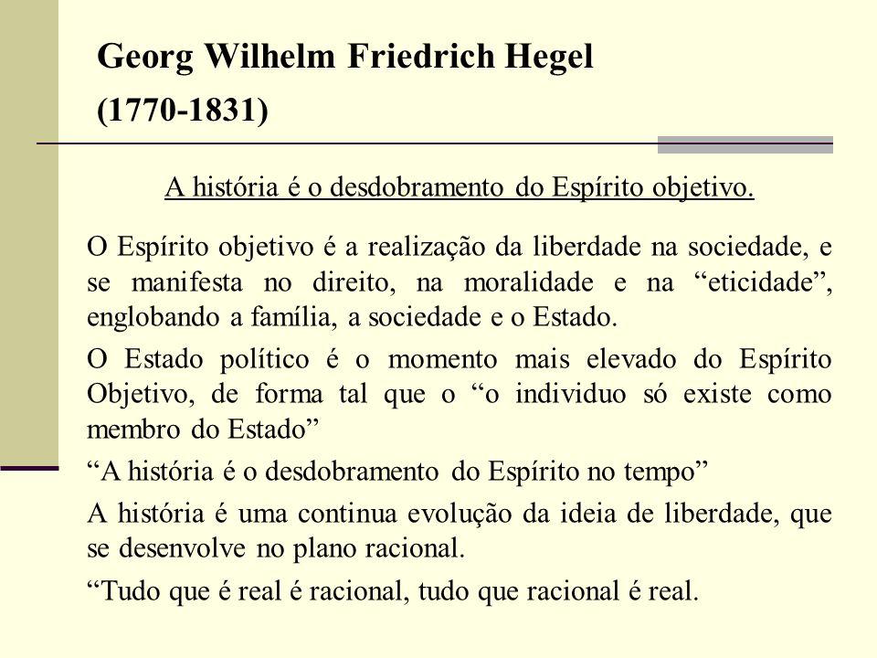 Georg Wilhelm Friedrich Hegel (1770-1831) A história é o desdobramento do Espírito objetivo. O Espírito objetivo é a realização da liberdade na socied