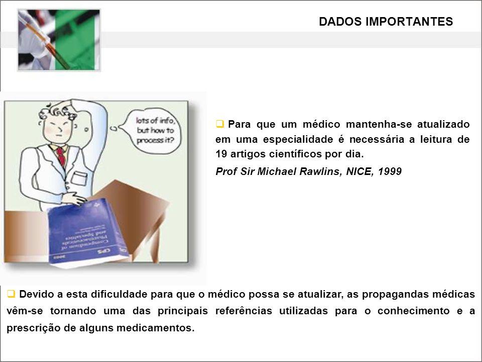 Para que um médico mantenha-se atualizado em uma especialidade é necessária a leitura de 19 artigos científicos por dia. Prof Sir Michael Rawlins, NIC