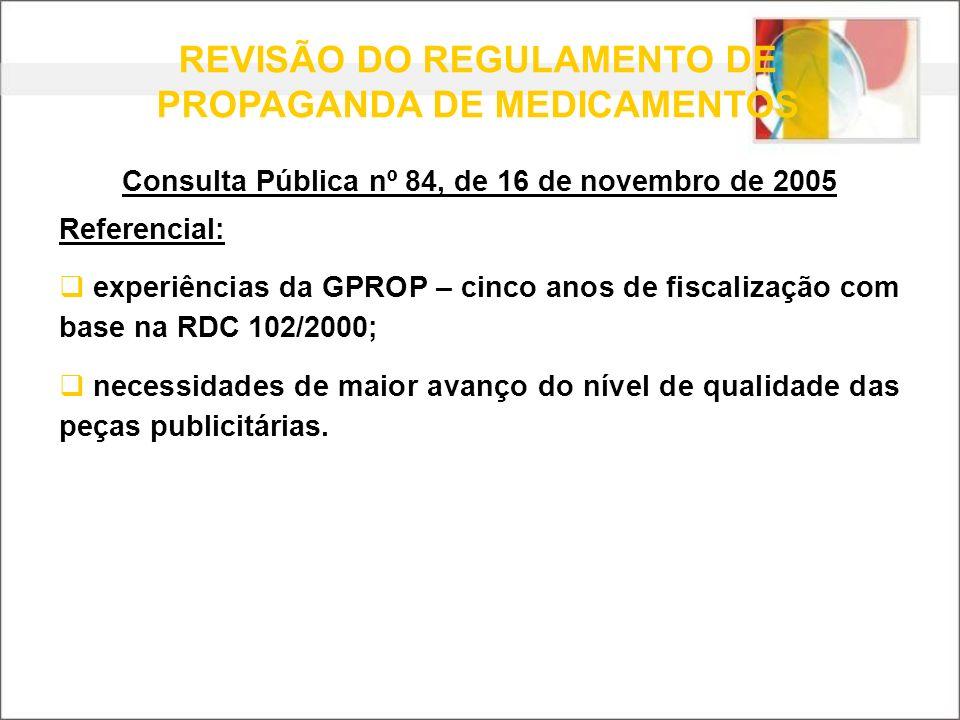 REVISÃO DO REGULAMENTO DE PROPAGANDA DE MEDICAMENTOS Consulta Pública nº 84, de 16 de novembro de 2005 Referencial: experiências da GPROP – cinco anos