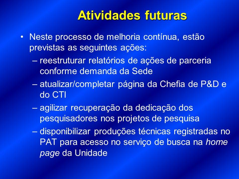 Atividades futuras Neste processo de melhoria contínua, estão previstas as seguintes ações: –reestruturar relatórios de ações de parceria conforme dem