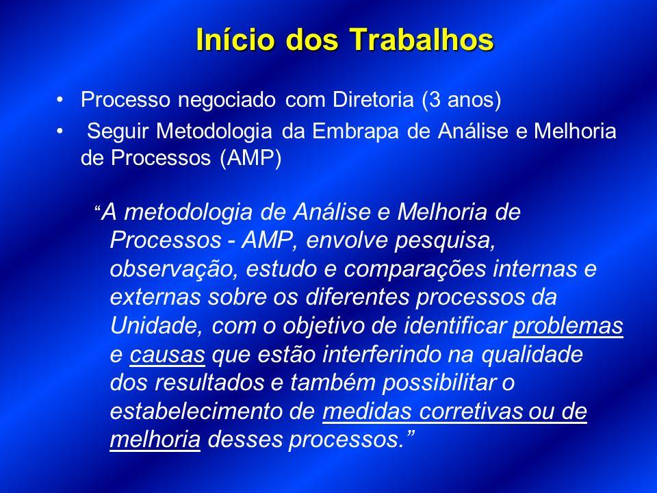 Processo negociado com Diretoria (3 anos) Seguir Metodologia da Embrapa de Análise e Melhoria de Processos (AMP) A metodologia de Análise e Melhoria d
