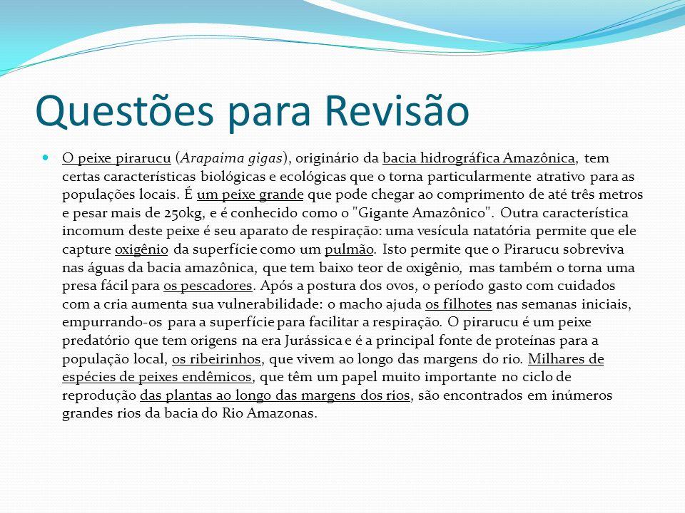 Questões para Revisão O peixe pirarucu (Arapaima gigas), originário da bacia hidrográfica Amazônica, tem certas características biológicas e ecológica