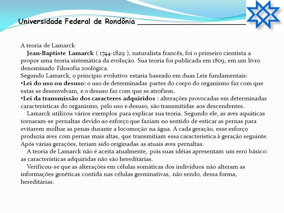 Universidade Federal de Rondônia __________________________ A teoria de Lamarck Jean-Baptiste Lamarck ( 1744-1829 ), naturalista francês, foi o primei