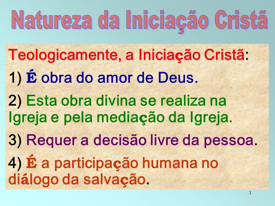 1 Teologicamente, a Inicia ç ão Cristã Teologicamente, a Inicia ç ão Cristã: 1) É obra do amor de Deus. 2) Esta obra divina se realiza na Igreja e pel