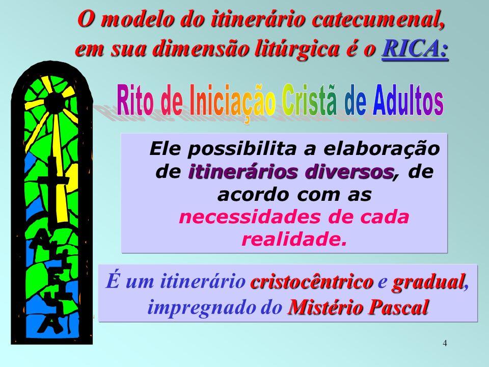 5 Itinerário catecumenal: * lugar privilegiado de inculturação * garante uma formação intensa e integral, * está vinculado a ritos, símbolos e sinais, e sinais, * e está em função da comunidade cristã.