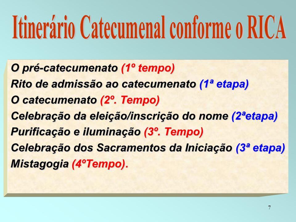 7 O pré-catecumenato (1º tempo) Rito de admissão ao catecumenato (1ª etapa) O catecumenato (2º. Tempo) Celebração da eleição/inscrição do nome (2ªetap