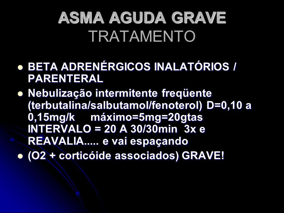 ASMA AGUDA GRAVE ASMA AGUDA GRAVE TRATAMENTO BETA ADRENÉRGICOS INALATÓRIOS / PARENTERAL BETA ADRENÉRGICOS INALATÓRIOS / PARENTERAL Nebulização intermi