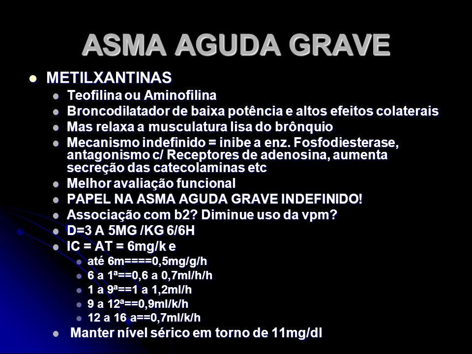ASMA AGUDA GRAVE METILXANTINAS METILXANTINAS Teofilina ou Aminofilina Teofilina ou Aminofilina Broncodilatador de baixa potência e altos efeitos colat