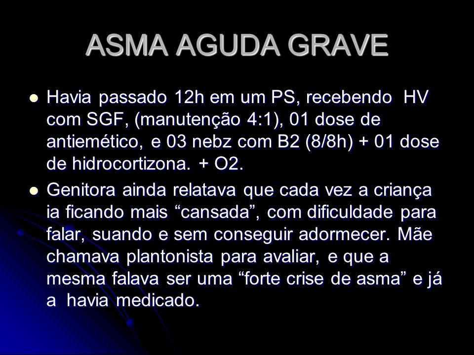 ASMA AGUDA GRAVE ASMA AGUDA GRAVE FISIOPATOLOGIA: EDEMA DE MUCOSA HPERSECREÇÃO AUMENTO RFA PORQUÊ DIMINUIÇÃO DO CALIBRE DAS VIAS AEREAS INFERIORES MAIOR RETENÇÃO DE AR TÉRMINO EXPIRAÇÃO AUMENTO DA CRF DIMINUIÇAO VC