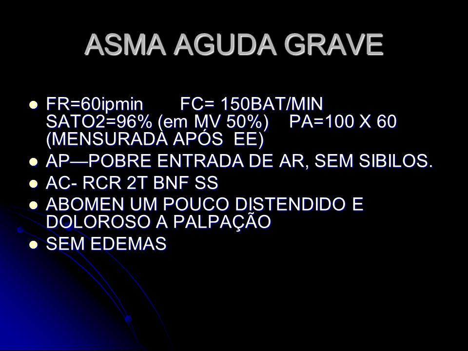 ASMA AGUDA GRAVE FR=60ipmin FC= 150BAT/MIN SATO2=96% (em MV 50%) PA=100 X 60 (MENSURADA APÓS EE) FR=60ipmin FC= 150BAT/MIN SATO2=96% (em MV 50%) PA=10