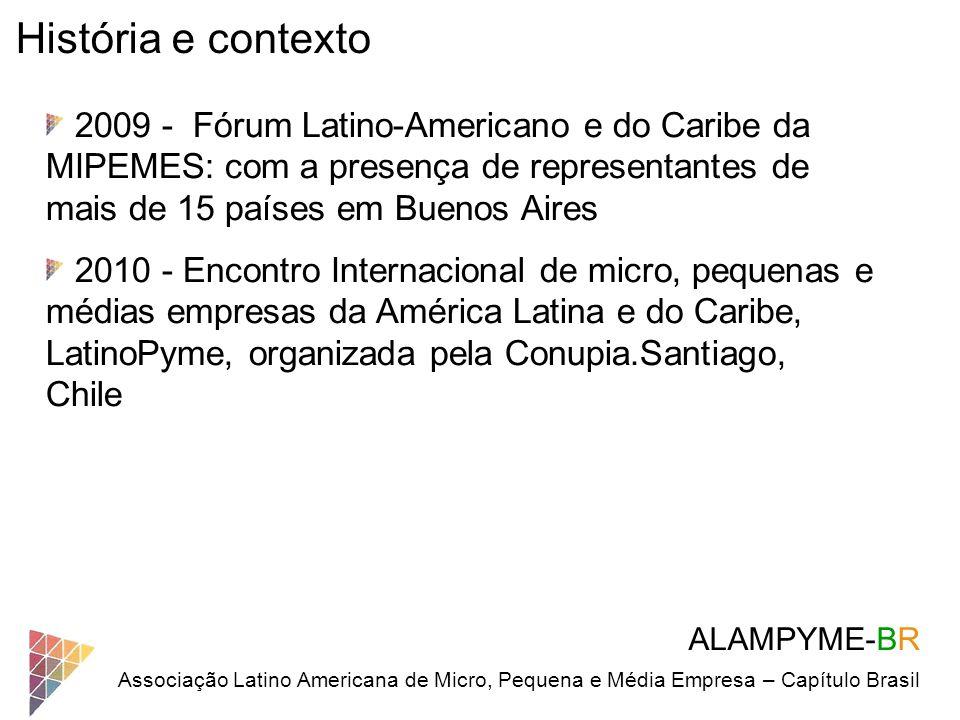 ALAMPYME-BR Associação Latino Americana de Micro, Pequena e Média Empresa – Capítulo Brasil História e contexto 2009 - Fórum Latino-Americano e do Car