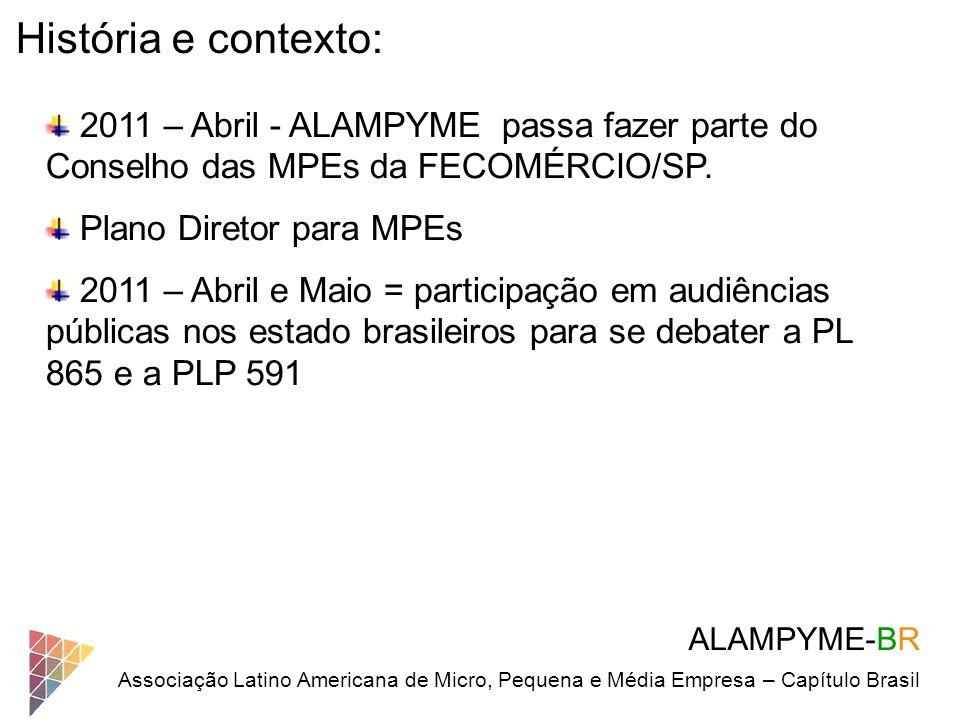 ALAMPYME-BR Associação Latino Americana de Micro, Pequena e Média Empresa – Capítulo Brasil História e contexto: 2011 – Abril - ALAMPYME passa fazer p