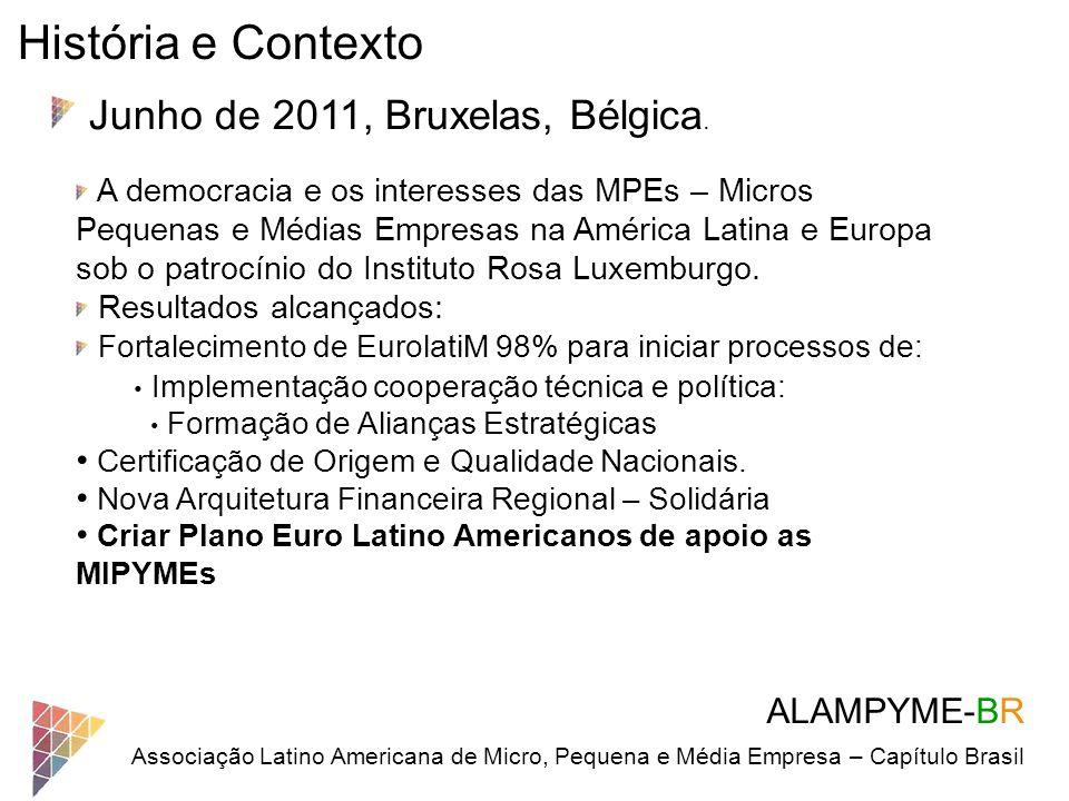 ALAMPYME-BR Associação Latino Americana de Micro, Pequena e Média Empresa – Capítulo Brasil História e Contexto Junho de 2011, Bruxelas, Bélgica. A de