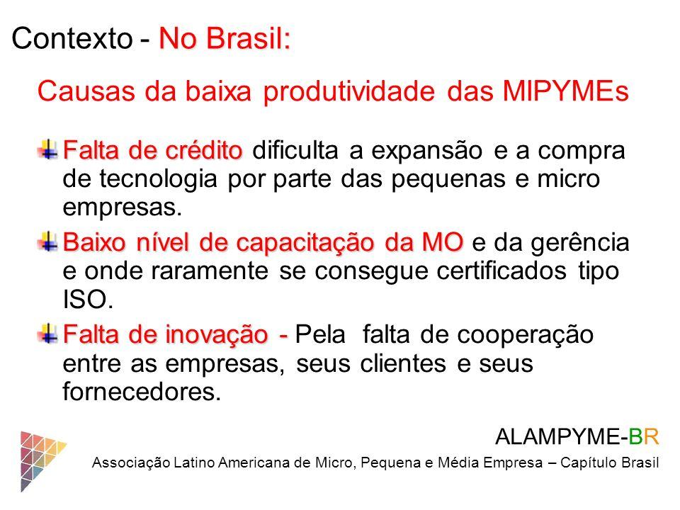No Brasil: Contexto - No Brasil: ALAMPYME-BR Associação Latino Americana de Micro, Pequena e Média Empresa – Capítulo Brasil Causas da baixa produtivi