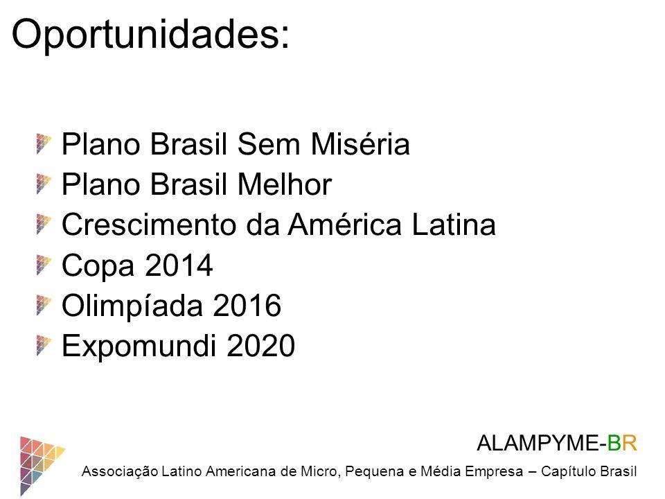 ALAMPYME-BR Associação Latino Americana de Micro, Pequena e Média Empresa – Capítulo Brasil Oportunidades: Plano Brasil Sem Miséria Plano Brasil Melho