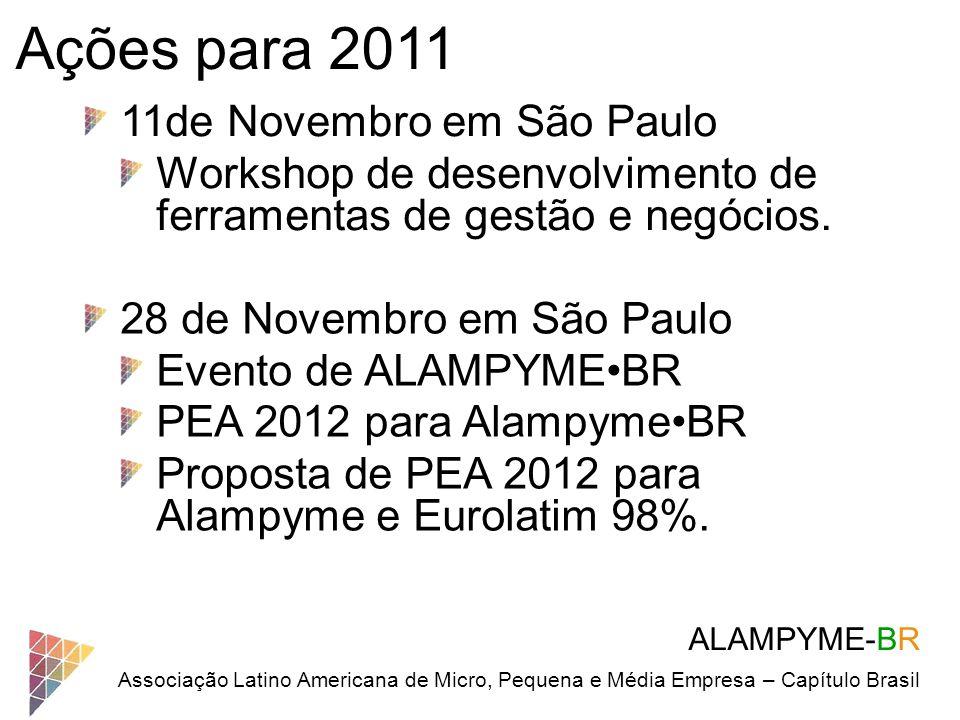 ALAMPYME-BR Associação Latino Americana de Micro, Pequena e Média Empresa – Capítulo Brasil Ações para 2011 11de Novembro em São Paulo Workshop de des