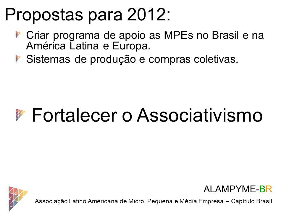 ALAMPYME-BR Associação Latino Americana de Micro, Pequena e Média Empresa – Capítulo Brasil Propostas para 2012: Criar programa de apoio as MPEs no Br