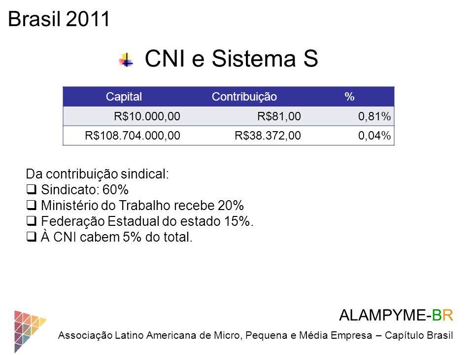 ALAMPYME-BR Associação Latino Americana de Micro, Pequena e Média Empresa – Capítulo Brasil Brasil 2011 CNI e Sistema S CapitalContribuição% R$10.000,