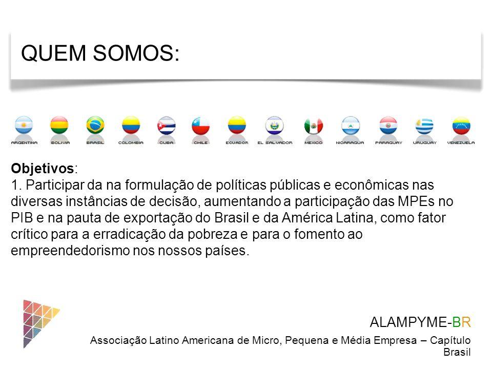 ALAMPYME-BR Associação Latino Americana de Micro, Pequena e Média Empresa – Capítulo Brasil Objetivos: 1. Participar da na formulação de políticas púb