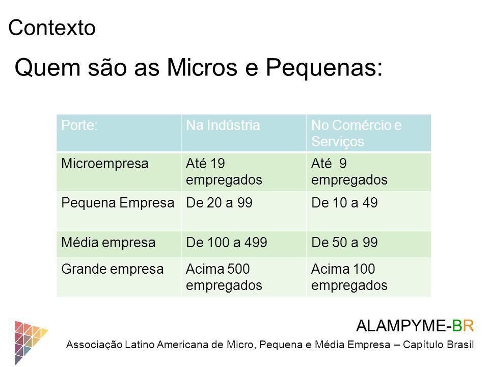 Quem são as Micros e Pequenas: Porte:Na IndústriaNo Comércio e Serviços MicroempresaAté 19 empregados Até 9 empregados Pequena EmpresaDe 20 a 99De 10