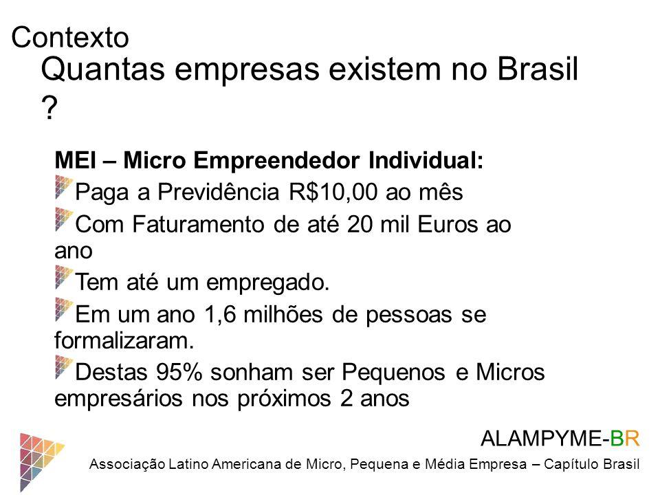 Contexto ALAMPYME-BR Associação Latino Americana de Micro, Pequena e Média Empresa – Capítulo Brasil Quantas empresas existem no Brasil ? MEI – Micro