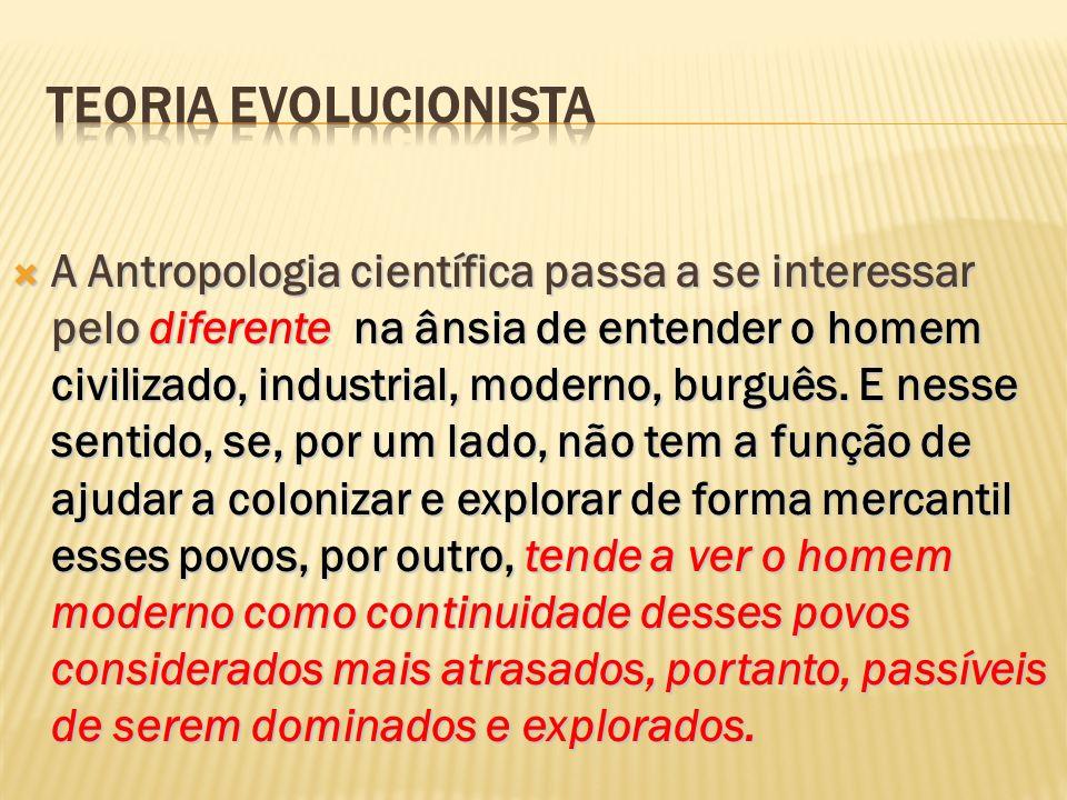 A Antropologia científica passa a se interessar pelo diferente na ânsia de entender o homem civilizado, industrial, moderno, burguês. E nesse sentido,