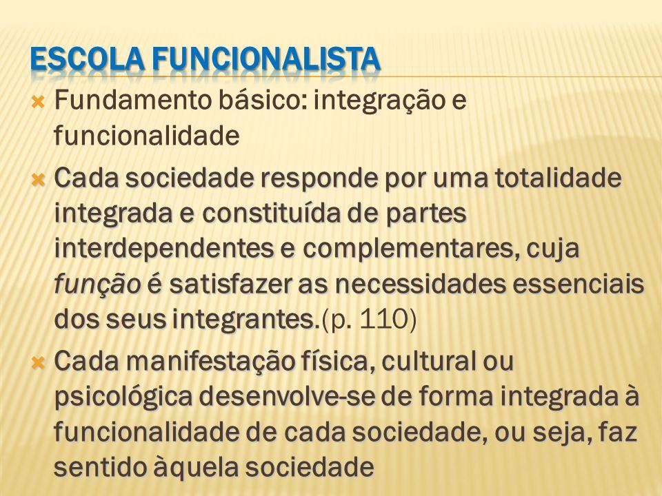 Fundamento básico: integração e funcionalidade Cada sociedade responde por uma totalidade integrada e constituída de partes interdependentes e complem